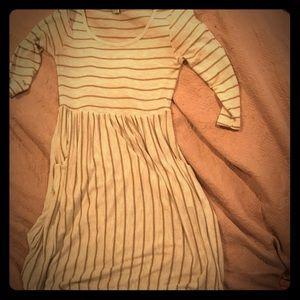 Lightweight 3/4 sleeve dress pockets, stripes